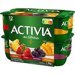 Danone Activia Lait fermenté au bifidus fraise ananas pruneau mangue les 12 pots de 125 g