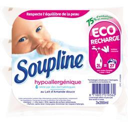 Soupline Soupline Adoucissant hypoallergénique au lait d'amande douce les 3 berlingots de 200 ml