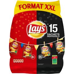 Lay's Chips nature/barbecue le lot de 15 sachets - 392,5 g - Format XXM