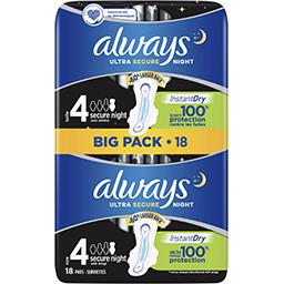 Always Always Ultra secure night (t4) serviettes hygiéniques ailettes Le pack de 18 serviettes
