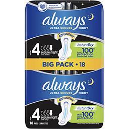 Always Always Ultra secure night (t4) serviettes hygiéniques ailettes Le pack de 18 serviettes