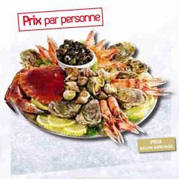 Plateau de crustacés  L'HUITRIER ,prix par personne