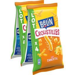 Belin Belin Croustilles - Biscuits apéritif goût emmental les 4 paquets de 138 g
