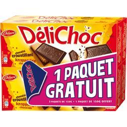 Delacre Délichoc - Biscuit croustillant chocolat noir les 3 paquets de 150 g