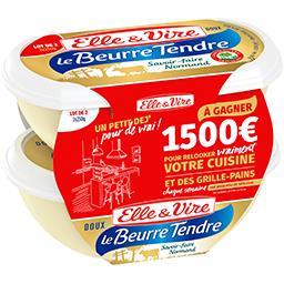 Elle & Vire Elle & Vire Le Beurre Tendre doux 82% MG les 2 barquettes de 250 g