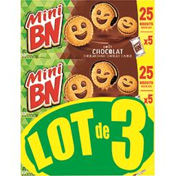 BN BN Mini - Biscuits fourrés goût chocolat le lot de 3 boites de 175 g