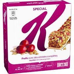 Kellogg's Kellogg's Special K - Barres de céréales fruits rouges les 6 barres de 21,5 g