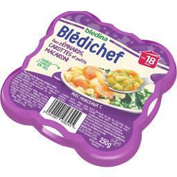 Blédina Blédina Blédichef - Duo d'épinards, carottes et petits macaroni, dès 18 mois l'assiette de 250 g