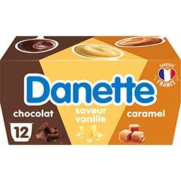 Danone Danone Danette - Dessert chocolat, saveur vanille & caramel les 12 pots de 115 g