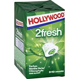 Hollywood Hollywood 2Fresh - Chewing-gum menthe verte/chlorophylle s/sucres les 3 boites de 10 dragées - 66 g