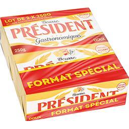 Président Président Beurre gastronomique doux les 2 plaquettes de 250 g - Format spécial