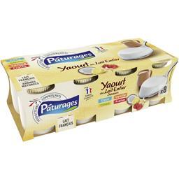 Pâturages Yaourt au lait entier vanille/coco/fraise/citron les 8 pots de 125 g