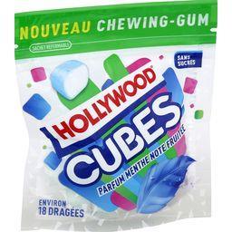 Hollywood Hollywood Cubes - Chewing-gum menthe note fruitée sans sucres le sachet de 18 dragées - 41 g