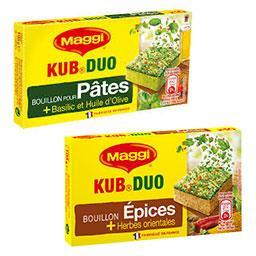 Bouillon épices et herbes orientales et bouillon kub duo basilic et huile d'olive pour pâtes
