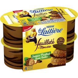 Nestlé La Laitière Dessert Feuilleté de Mousse saveur praliné façon rocher les 4 pots de 57 g