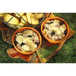 Pommes de terre thon au naturel sauce ail et ciboulette