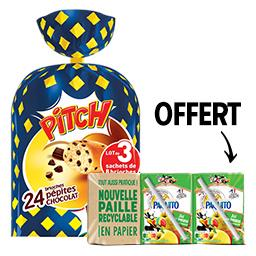 Pasquier Pasquier & Paquito les 3 paquets de 8 brioches aux pépites de chocolat achetés, les 6 briques de 20cl de jus de pomme offertes Le lot