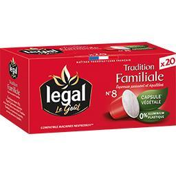 Ethical Coffee Company Legal Capsules de café moulu Espresso Tradition Familiale la boite de 20 capsules - 100 g