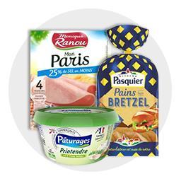 Pain bretzel au jambon et fromage