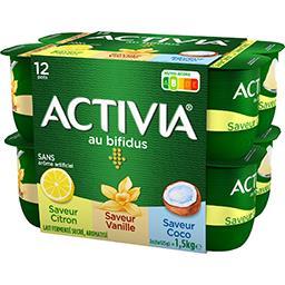 Danone Danone Activia - Lait fermenté au bifidus saveurs citron vanille coco les 12 pots de 125 g