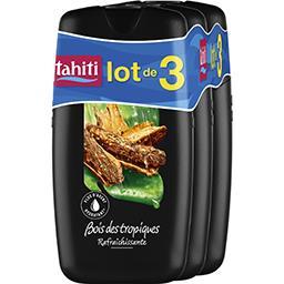 Tahiti Tahiti Gel douche Bois des Tropiques rafraîchissant les 3 flacons de 250 ml