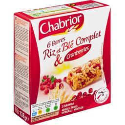 Barres de céréales riz et blé complet & cranberries