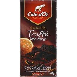 Spécialités truffé noir orange, chocolat noir fourré à la truffe fantaisie et aux zestes d'oranges confites, la tablette