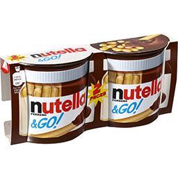 Nutella Nutella &Go! - Pâte à tartiner aux noisettes et bâtonnets céréaliers les 2 pots de 52 g
