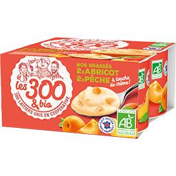 Les 300 & Bio Les  & bio Nos Brassés abricot & pêche BIO les 4 pots de 125 g