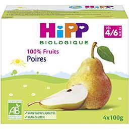 100% Fruits - Poires BIO, dès 4/6 mois