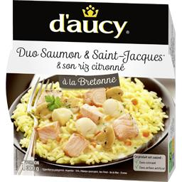 Duo saumon & Saint Jacques & riz citronné à la bretonne