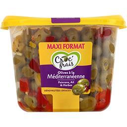 Croc' frais Croc'frais Olives à la méditerranéenne dénoyautées douces la barquette de 500 g - Maxi Format