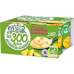 Les 300 & Bio Les 300 & bio Nos Brassés mangue & ananas BIO les 4 pots de 125 g