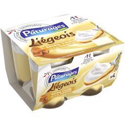 Dessert Liégeois vanille sur lit de caramel