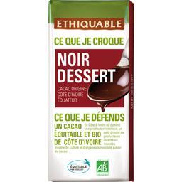 Chocolat noir dessert BIO origine Côte d'Ivoire Equateur