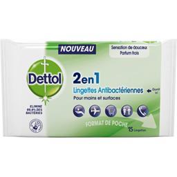 DETTOL Lingettes Antibactériennes 2 en 1 15 Lingettes -