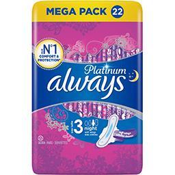 Always Always Platinium -  Serviette hygiénique nuit taille 3 Le paquet de 22