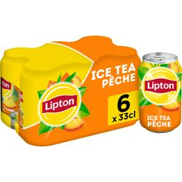Lipton Lipton Ice Tea - Boisson saveur pêche les 6 cannettes de 33 cl