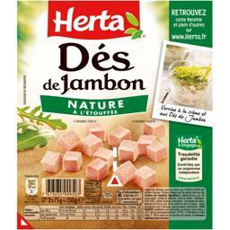 Herta Herta Dés de jambon nature à l'étouffée les 2 barquettes de 75 g