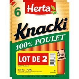 Herta Herta Knacki - Saucisses 100% poulet le lot de 2 paquets de 210 g