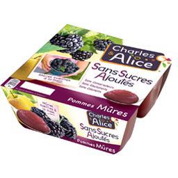 Pomme mûre sans sucre ajouté,CHARLES ET ALICE,les 4 pots de 97 g