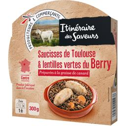 Saucisses de Toulouse & lentilles vertes du Berry