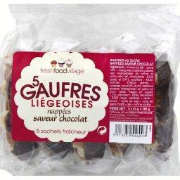 Gaufres liégeoises nappées saveur chocolat