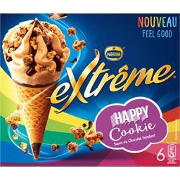 Nestlé Extrême Cônes Happy Cookie sauce au chocolat fondant la boite de 6 - 396 g