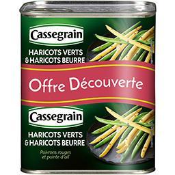 Cassegrain Cassegrain Haricots verts & haricots beurre poivrons rouges et ail les 2 boites de 220 g net égoutté - Offre Découverte