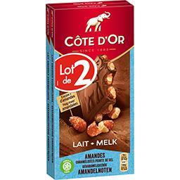 Côte d'Or Côte d'Or Chocolat au lait amandes caramélisées pointe de sel le lot de 2 tablettes de 180 g