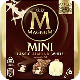 Magnum Magnum Mini glaces Classic/Almond/White la boite de 6 - 266 g