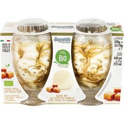 Saporit Glace au goût de vanille avec sauce au caramel BIO les 2 pots de 110 g