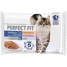 Perfect Fit Perfect fit Indoor 1+ - Pâtée poulet et saumon en sauce pour chats les 4 sachets de 85 g