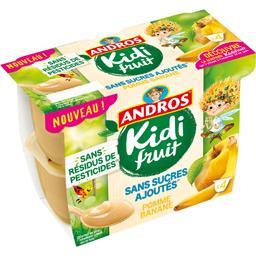 Andros Andros Kidi Fruit - Spécialité de pomme banane les 4 pots de 85 g